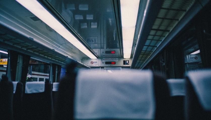 バスの車内 座席の写真