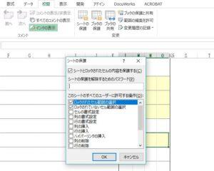 シート保護のパスワードの設定の写真
