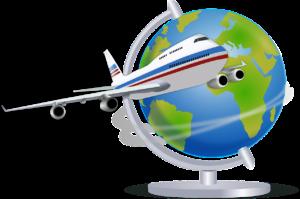 飛行機と地球儀のイラスト