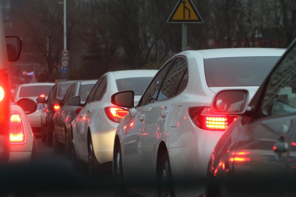 渋滞している写真