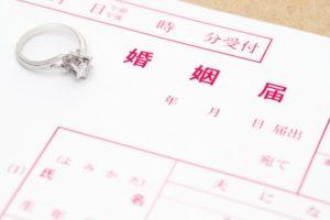 婚姻届けと指輪の写真