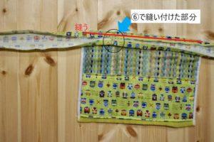 ゴム紐部分用タオルガーゼをタオル地の上方に縫い付ける説明の写真