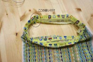 ゴム紐部分用のダブルガーゼを輪っかになるように縫い付ける説明の写真