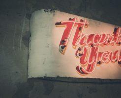 thank youの看板の写真
