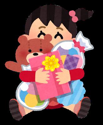プレゼントを抱える女の子の写真