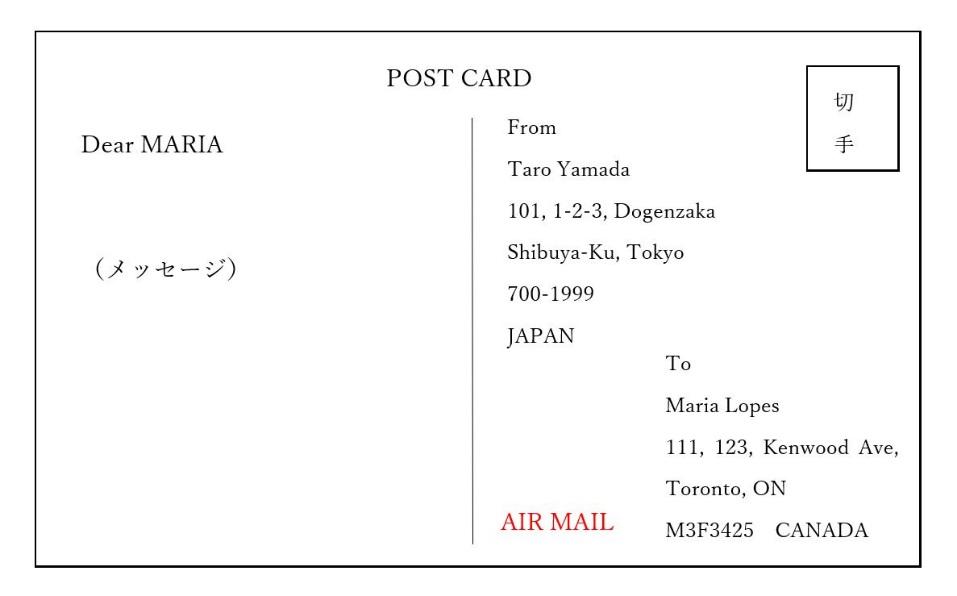 ポストカードで送るイメージ図