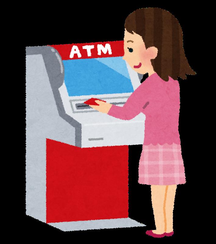 ATMを使用する女性のイラスト