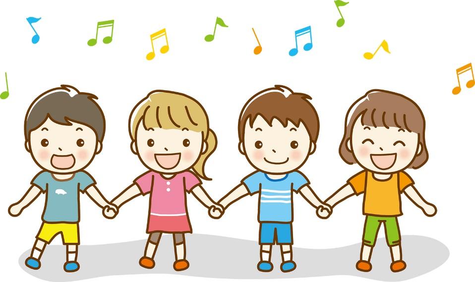 手を繋ぐ子供のイラスト